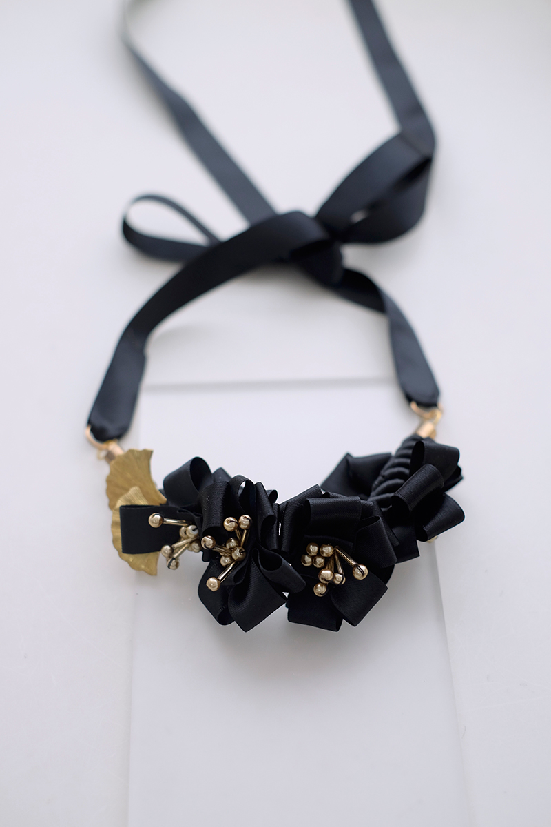 Flaxen in Black Satin